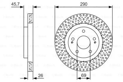Вентилируемый тормозной диск на Митсубиси Грандис 'BOSCH 0 986 479 U80'.