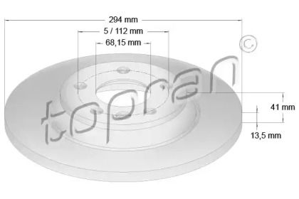 Задний тормозной диск 'TOPRAN 107 692'.
