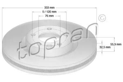 Вентилируемый передний тормозной диск 'TOPRAN 110 429'.