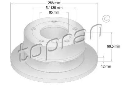 Задний тормозной диск на Мерседес Спринтер 'TOPRAN 107 688'.