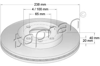 Вентилируемый передний тормозной диск TOPRAN 103 407.