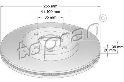 Вентилируемый передний тормозной диск TOPRAN 103 408.