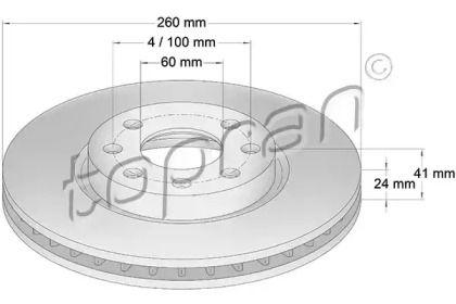 Вентилируемый передний тормозной диск TOPRAN 206 120.