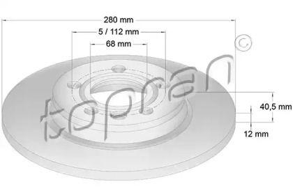 Задний тормозной диск TOPRAN 108 915.