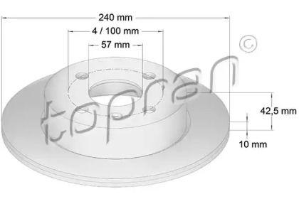 Задний тормозной диск TOPRAN 205 525.