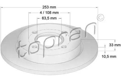 Задний тормозной диск TOPRAN 300 293.