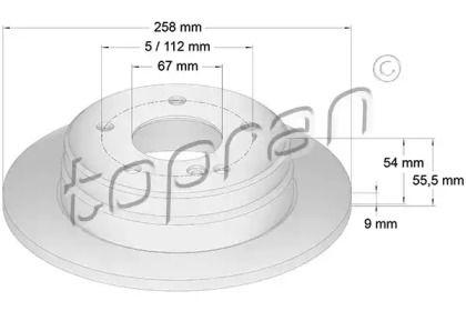 Задний тормозной диск 'TOPRAN 400 861'.