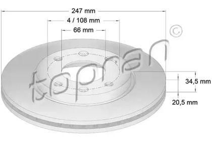 Вентилируемый передний тормозной диск TOPRAN 720 240.