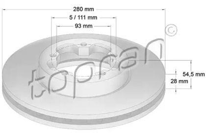 Вентилируемый передний тормозной диск 'TOPRAN 303 972'.