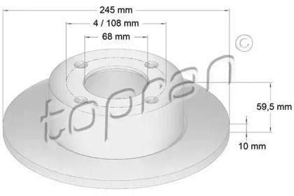 Задний тормозной диск TOPRAN 103 702.