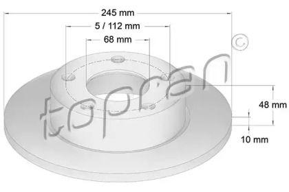 Задний тормозной диск TOPRAN 109 525.