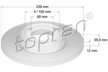 Передний тормозной диск TOPRAN 103 406.