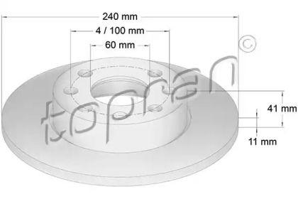 Передний тормозной диск TOPRAN 206 122.