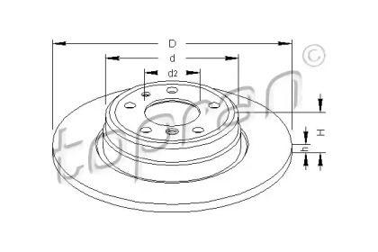 Задний тормозной диск 'TOPRAN 500 566'.
