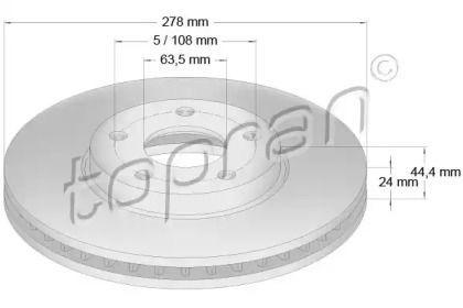 Вентилируемый передний тормозной диск 'TOPRAN 302 248'.