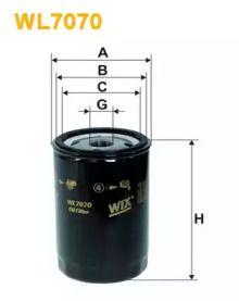 Масляный фильтр на SEAT TOLEDO WIX FILTERS WL7070.