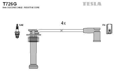 Високовольтні дроти запалювання на MAZDA TRIBUTE TESLA T726G.