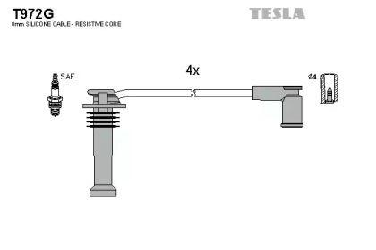 Высоковольтные провода зажигания TESLA T972G.