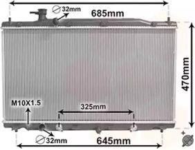 Радиатор охлаждения двигателя на Хонда ЦРВ 'VAN WEZEL 25002269'.