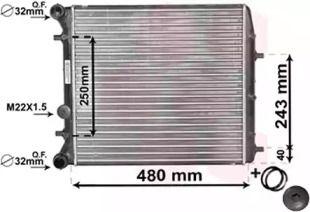 Радіатор охолодження двигуна на SKODA ROOMSTER 'VAN WEZEL 76002005'.