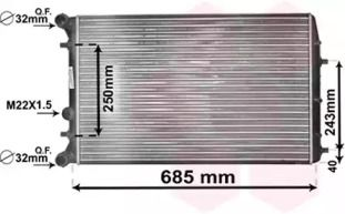Радіатор охолодження двигуна на SKODA ROOMSTER 'VAN WEZEL 76002010'.