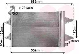 Радіатор кондиціонера на SKODA ROOMSTER 'VAN WEZEL 76005007'.