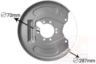 Захисний кожух гальмівного диска на MITSUBISHI CARISMA VAN WEZEL 3225374.