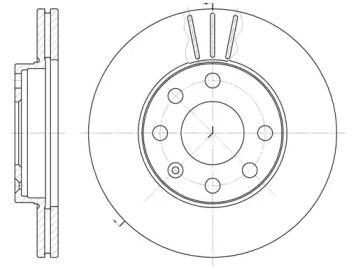 Вентилируемый передний тормозной диск 'WOKING D6061.10'.