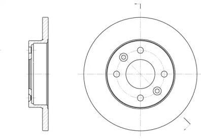 Передний тормозной диск на RENAULT LOGAN 'WOKING D6067.00'.