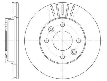 Вентилируемый передний тормозной диск 'WOKING D6080.10'.