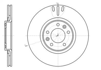 Вентилируемый задний тормозной диск 'WOKING D61051.10'.