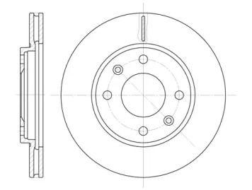 Вентилируемый передний тормозной диск 'WOKING D6131.10'.