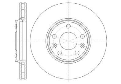 Вентилируемый передний тормозной диск 'WOKING D61344.10'.