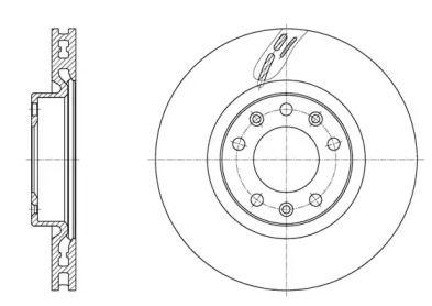 Вентилируемый передний тормозной диск 'WOKING D61583.10'.