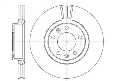Вентилируемый передний тормозной диск 'WOKING D6307.10'.