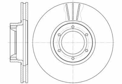 Вентилируемый передний тормозной диск 'WOKING D6567.10'.