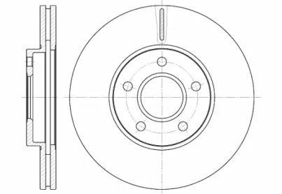 Вентилируемый передний тормозной диск 'WOKING D6662.10'.