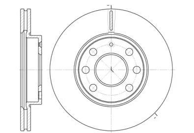 Вентилируемый передний тормозной диск 'WOKING D6665.10'.