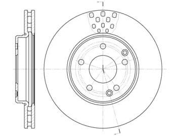Вентилируемый передний тормозной диск 'WOKING D6751.10'.