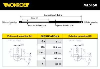 Амортизатор багажника 'MONROE ML5168'.