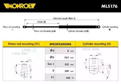 Амортизатор багажника MONROE ML5176.