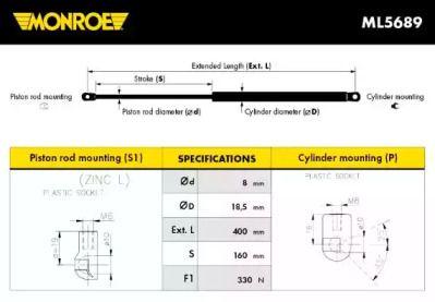 Амортизатор капота MONROE ML5689.