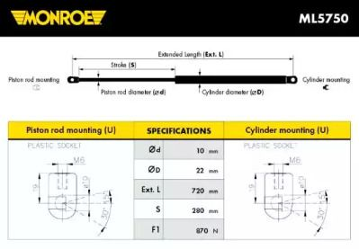 Амортизатор багажника MONROE ML5750.