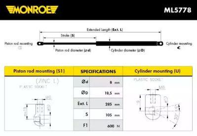 Амортизатор багажника MONROE ML5778.