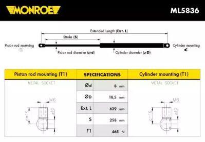 Амортизатор багажника MONROE ML5836.