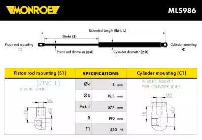 Амортизатор багажника MONROE ML5986.