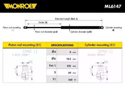 Амортизатор капота MONROE ML6147.