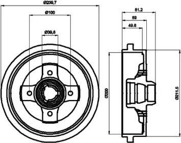 Тормозной барабан 'TEXTAR 94006700'.