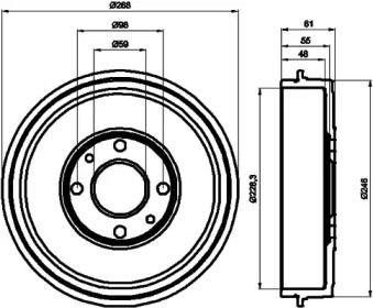 Тормозной барабан на PEUGEOT BIPPER 'TEXTAR 94014000'.