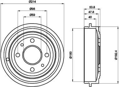 Тормозной барабан на FIAT 500 'TEXTAR 94014800'.